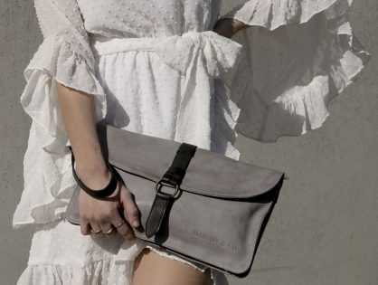 Vintage, retro and boho inspired genuine leather clutch bag