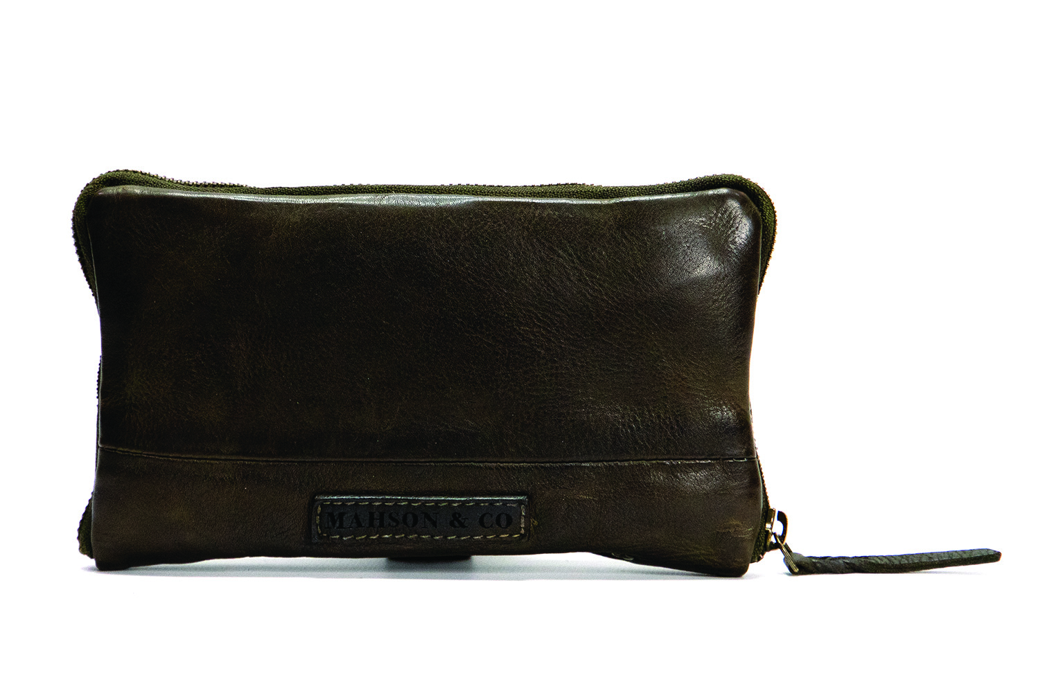 Vintage, retro and boho inspired leather wallet - mud olive