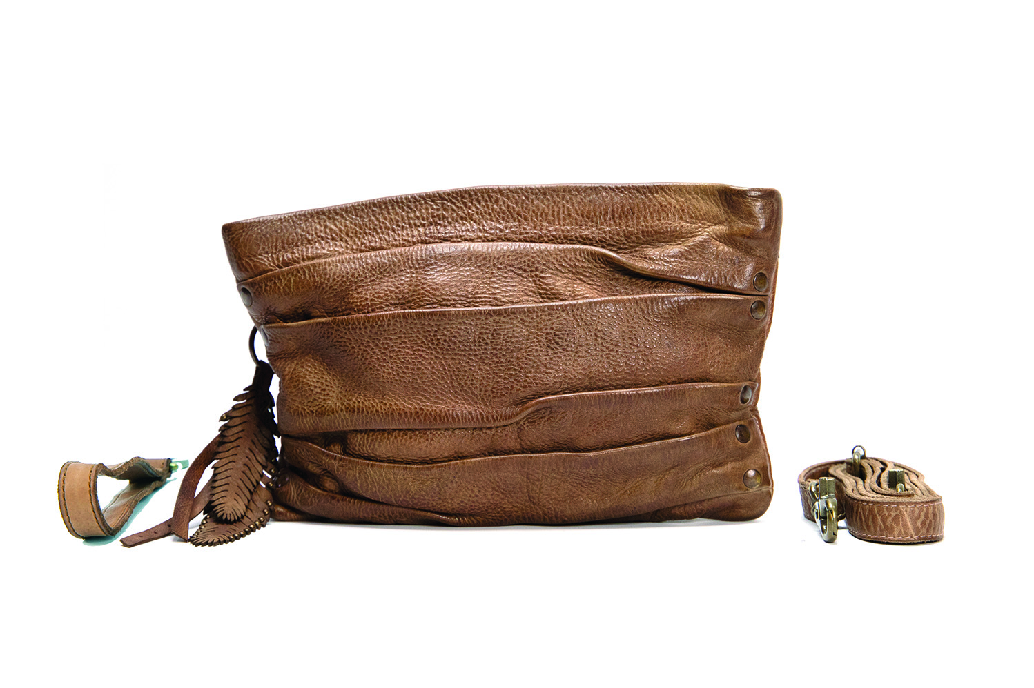 Vintage, retro and boho inspired genuine leather clutch