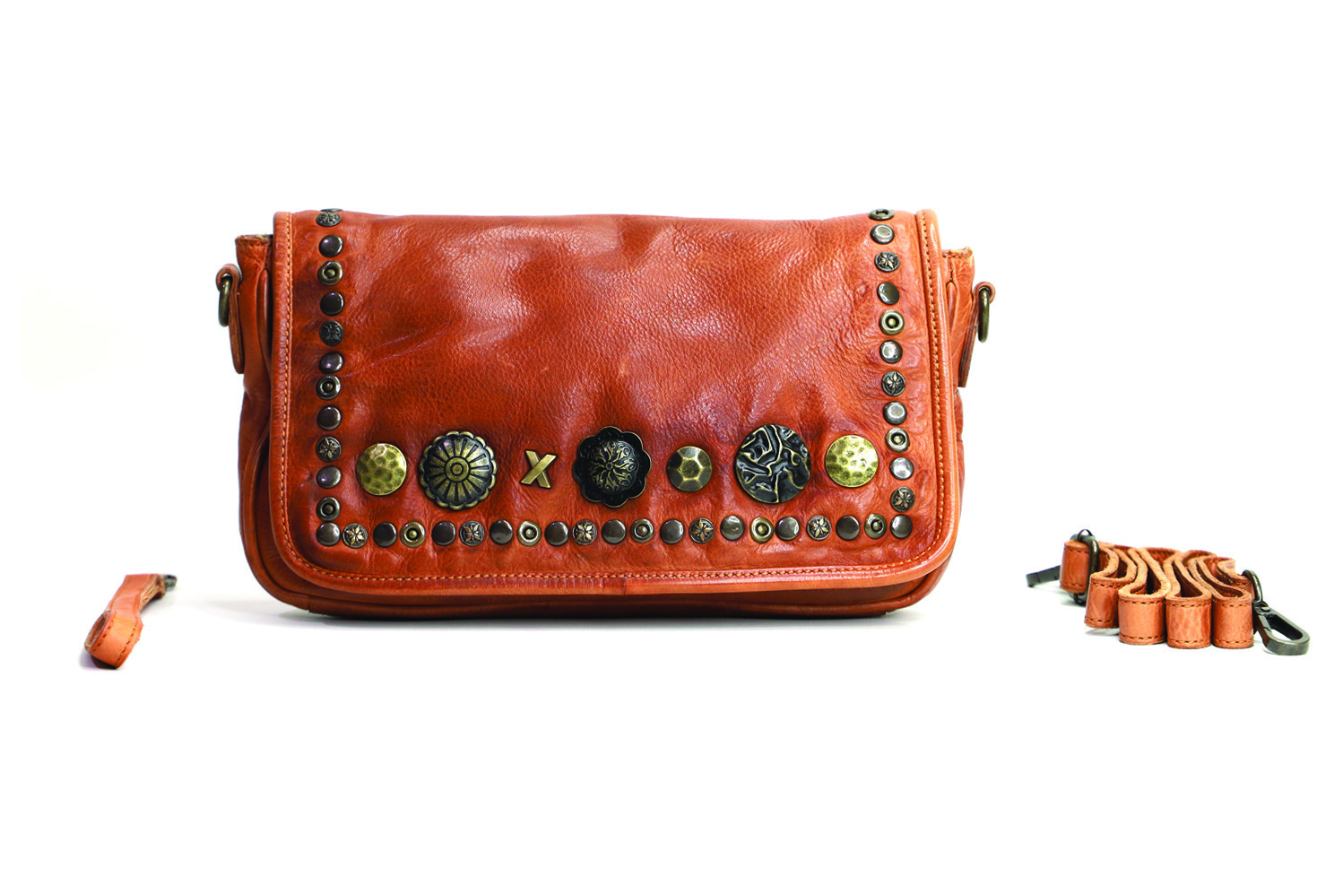 Genuine leather and stud clutch